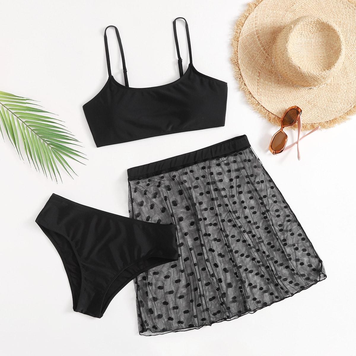 3pack Plus High Waisted Bikini Swimsuit & Beach Skirt