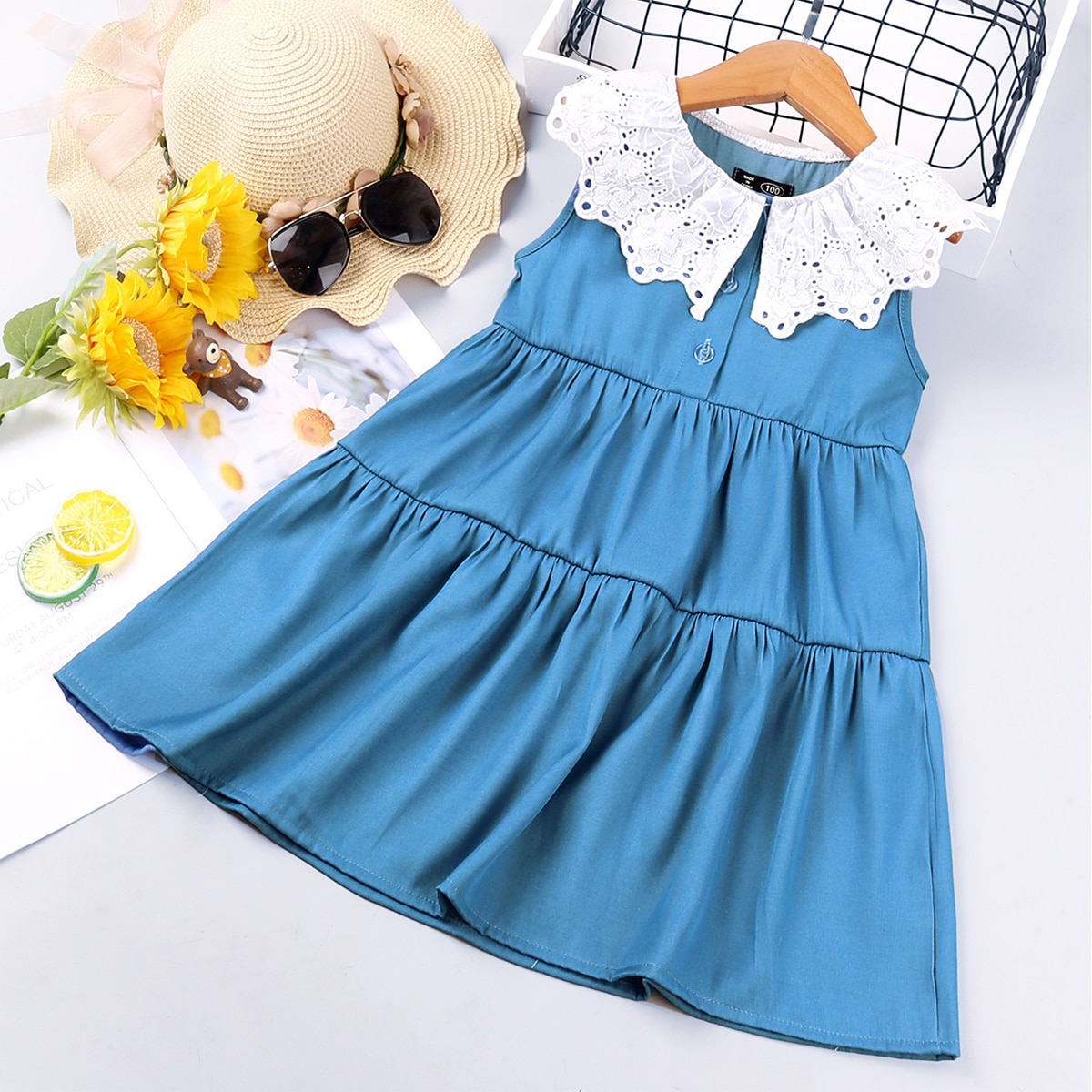 с оборками Контрастный цвет милый Джинсовые платья для девочек SheIn skdress25210406221