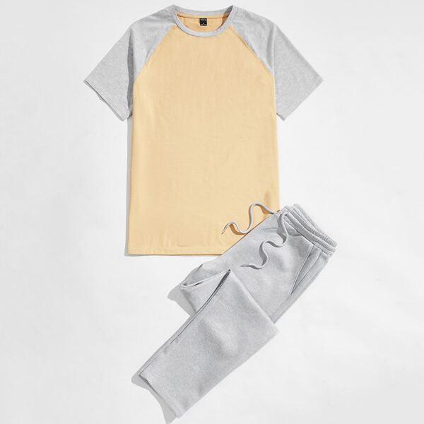 Men Contrast Raglan Sleeve Top & Pants Set, Multicolor