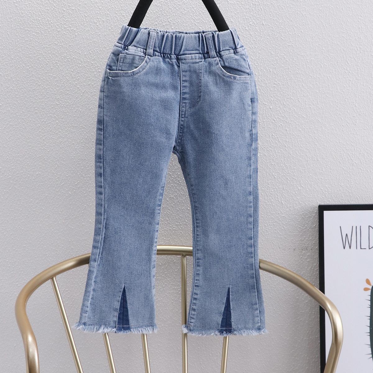 Toddler Girls Raw Hem Bootcut Jeans