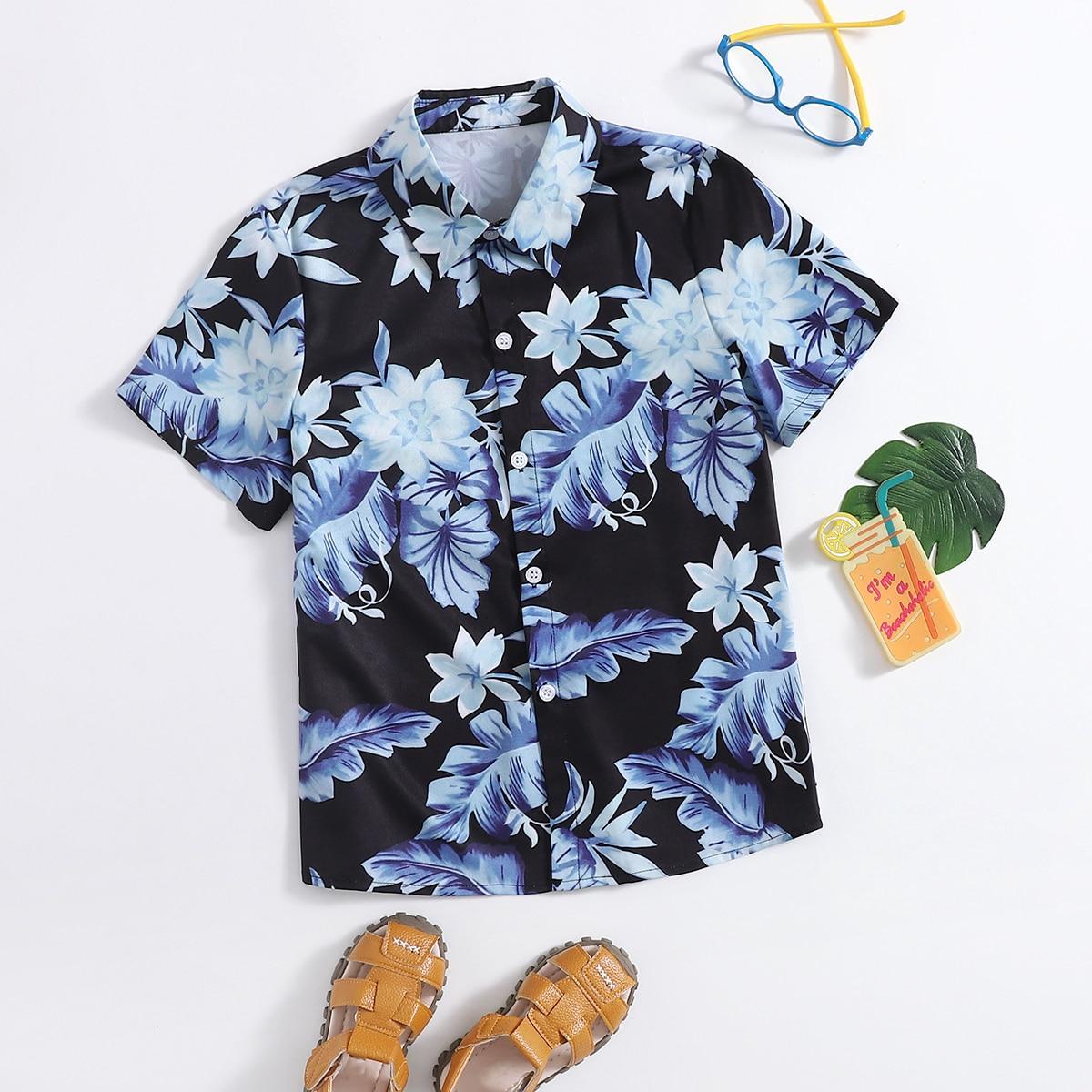 Пуговица Со цветочками Тропический Бохо Рубашки для мальчиков
