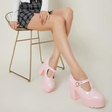 Faux Patent Leather Buckled Platform Mary Janes