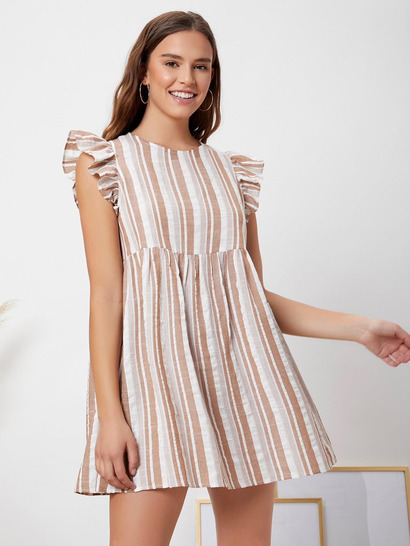 keyhole back ruffle trim striped dress