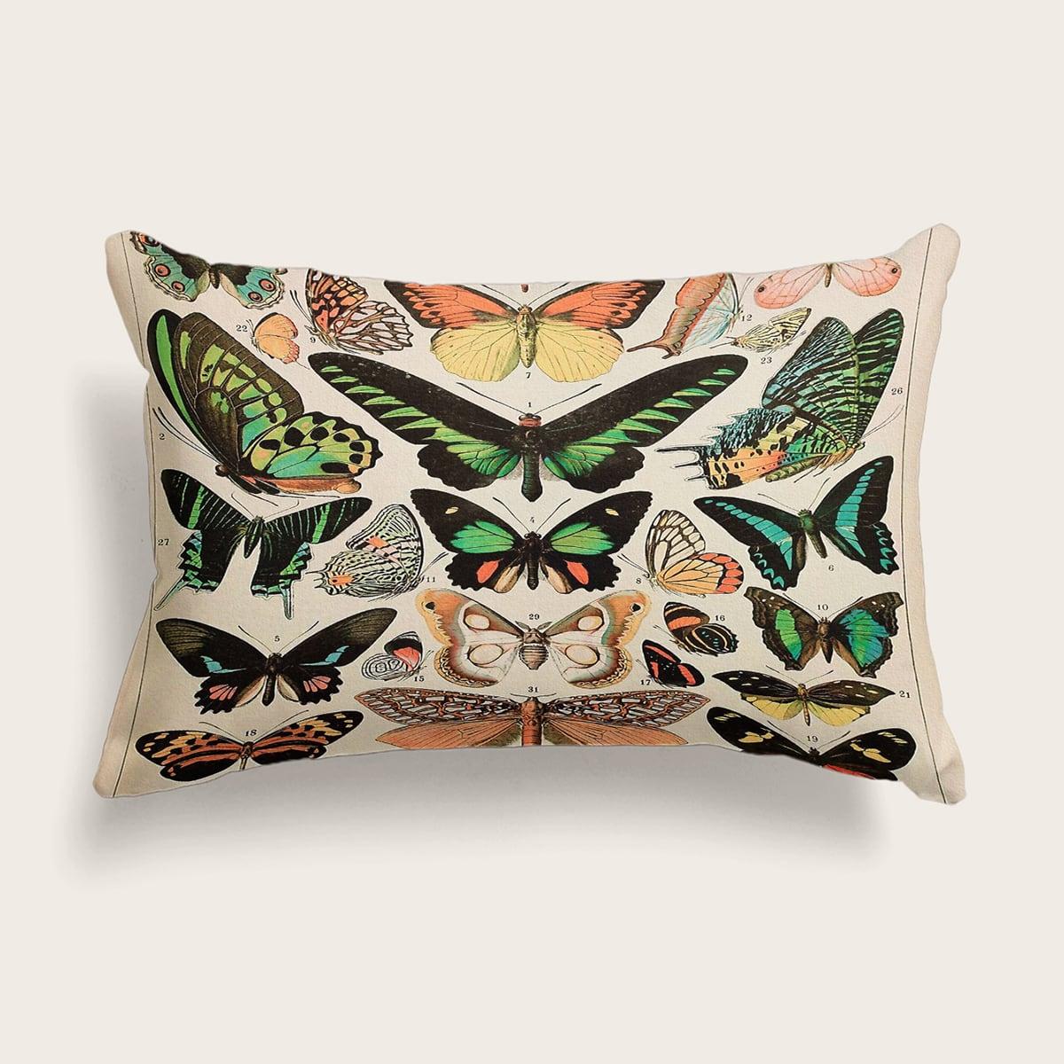 Taie D'oreiller Lombaire Avec Motif Papillon (Sans Bourre)