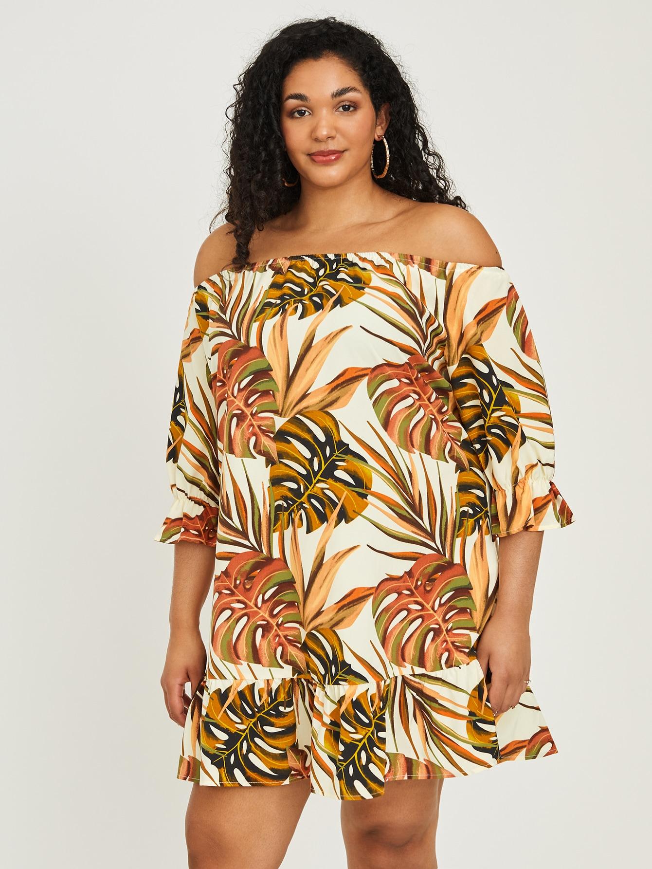 plus tropical ruffle hem bardot dress