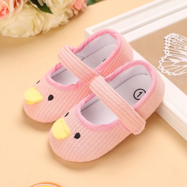Baby Girl Cartoon Design Velcro Strap Knit Flats, Baby pink