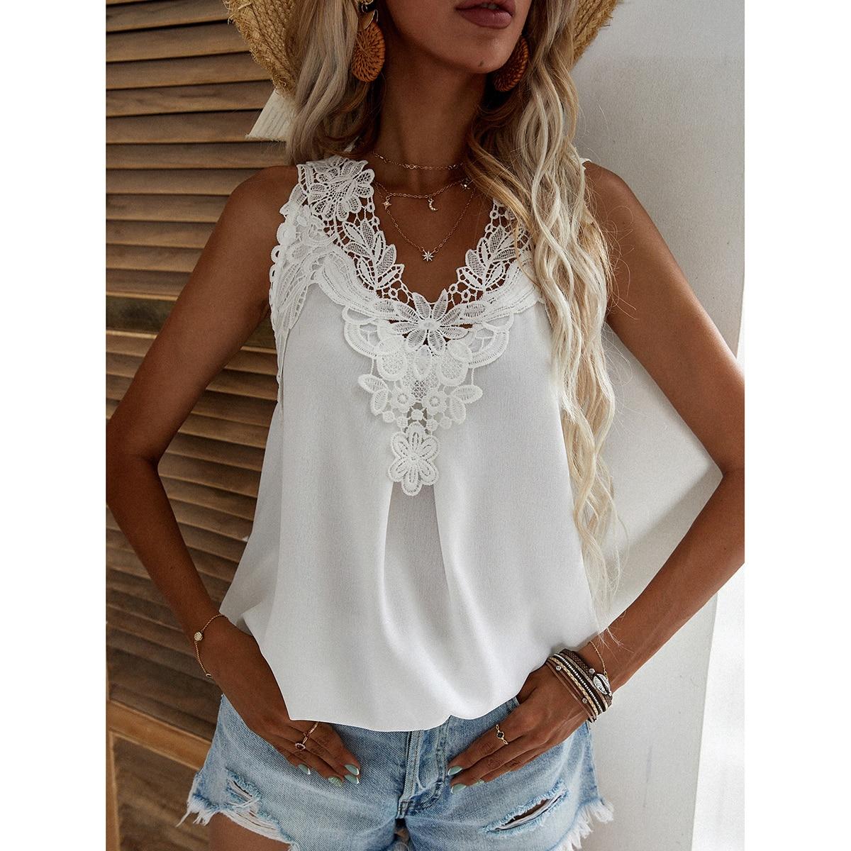Однотонная блуза с кружевом SheIn swblouse23210415416
