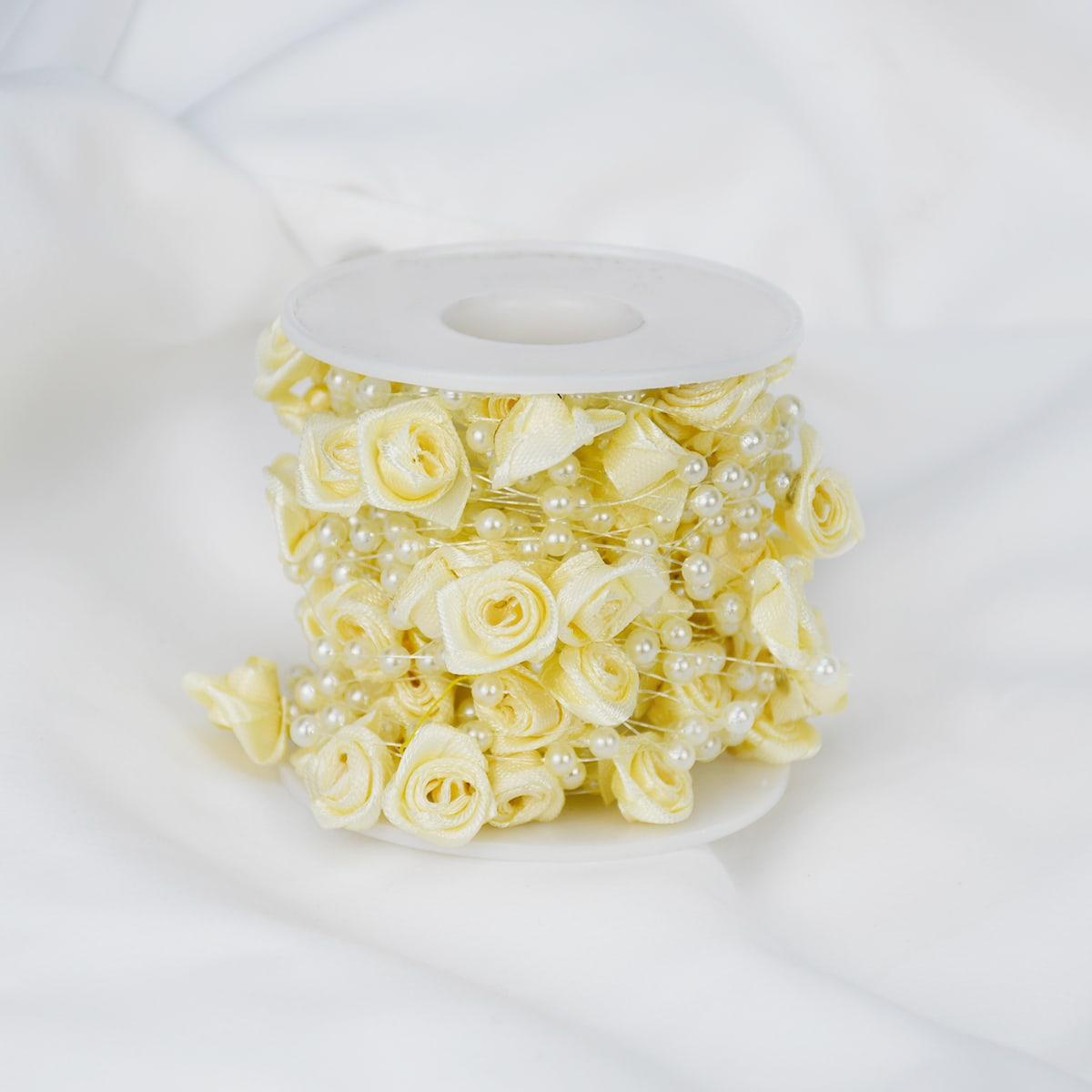 1 рулон Искусственная роза и жемчужная нить