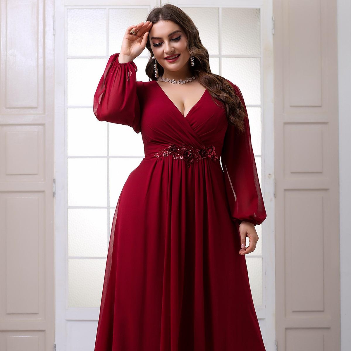 Шифоновое платье макси для выпускного вечера с глубоким воротником и блестками размера плюс от SHEIN