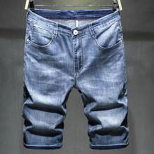 Guys Patched Embroidery Denim Bermuda Shorts