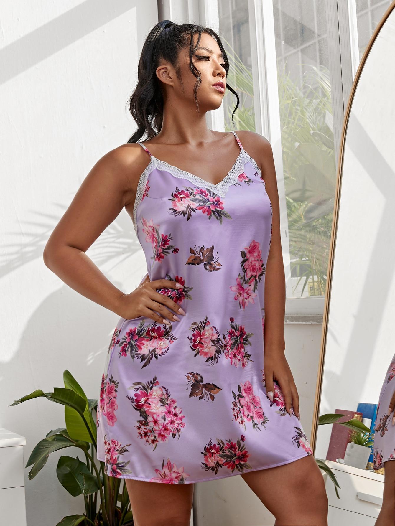 Plus Satin Floral Print Contrast Lace Cami Night Dress