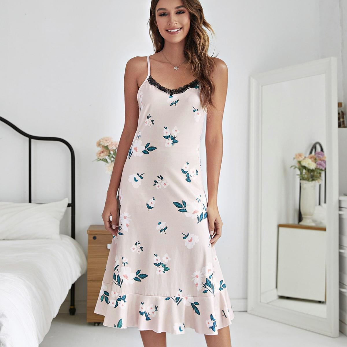 Контрастные кружева С оборками Со цветочками Элегантный Ночная рубашка