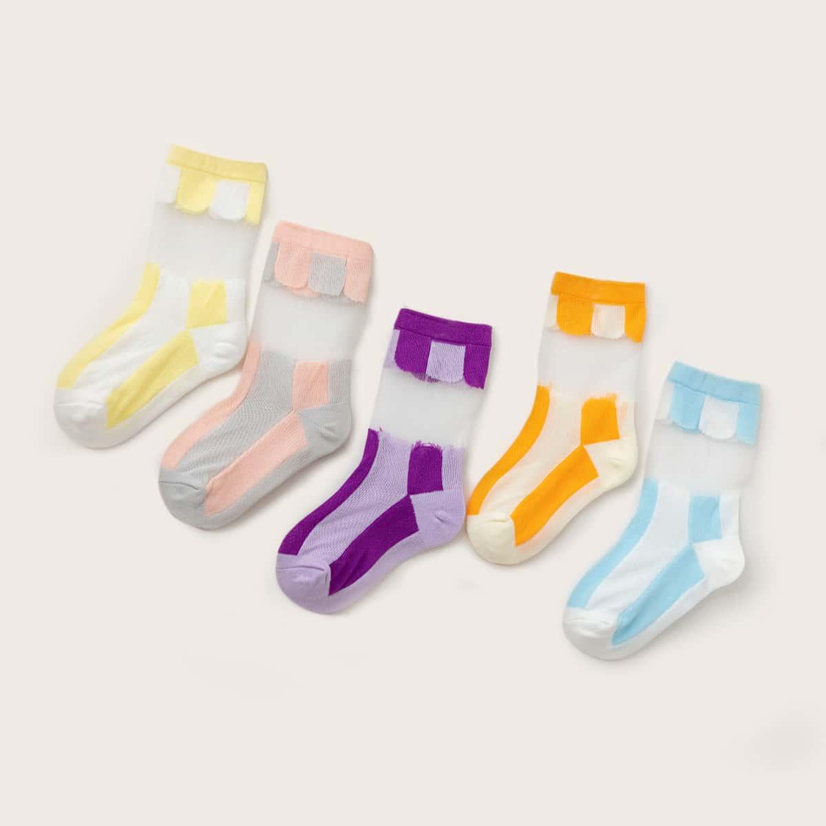 5 пар контрастные носки для девочек