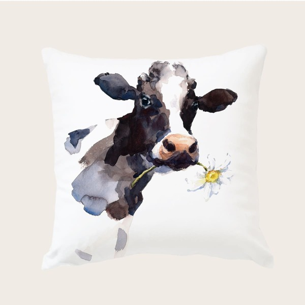 Cow Print Cushion Cover Without Filler, Multicolor