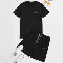 Guys Letter Embroidery Tee & Drawstring Track Shorts