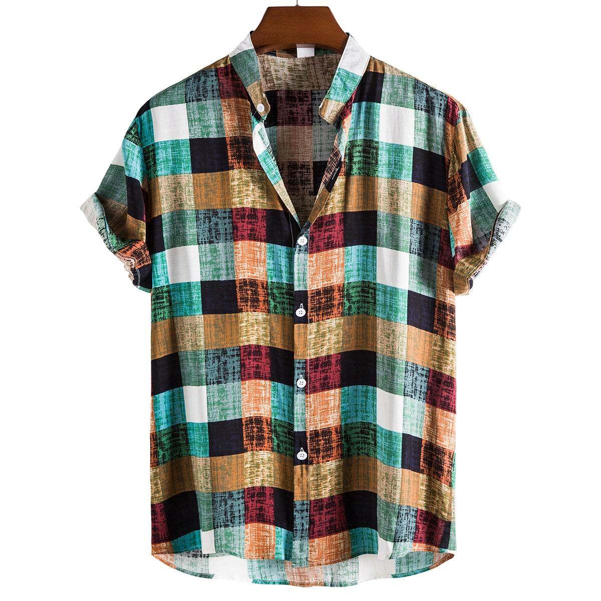 Пуговица Клетчатый Отпуск Мужские рубашки SheIn smshirt25210428650