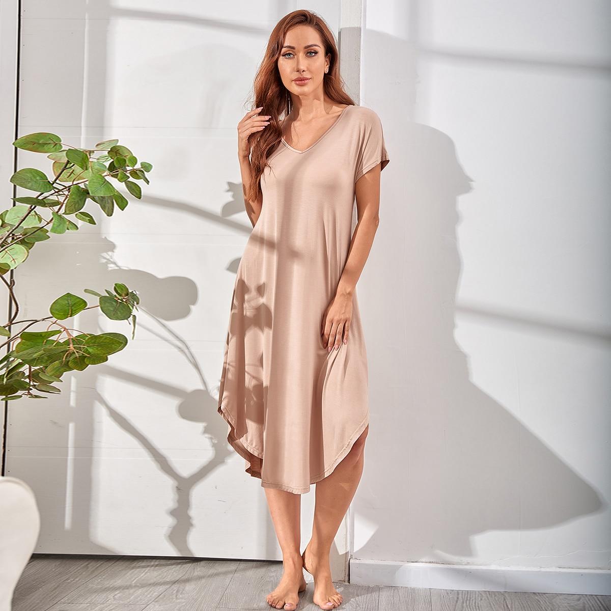Solid V-neck Curved Hem Lounge Dress