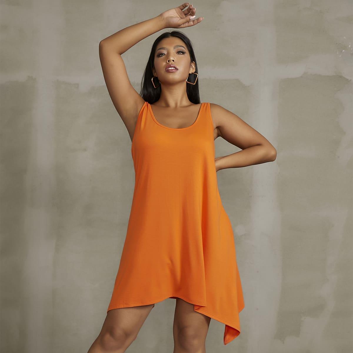 Plus Solid Asymmetrical Hem Tank Dress