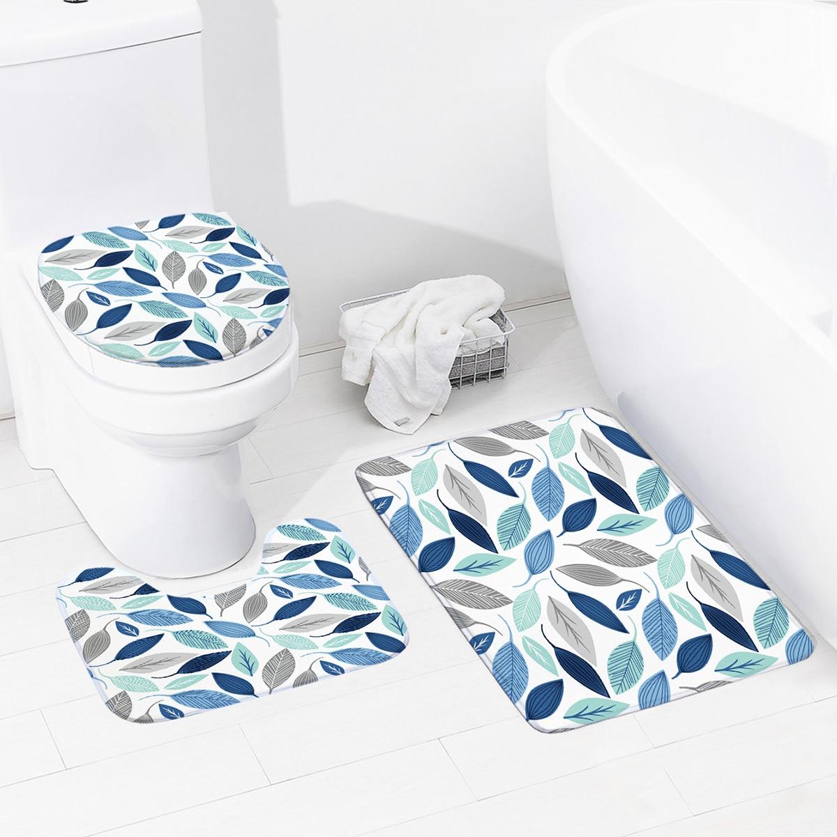 1шт коврик для ванной с принтом листьев
