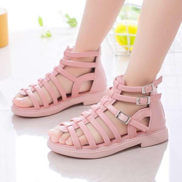 Girls Minimalist Gladiator Sandals, Baby pink