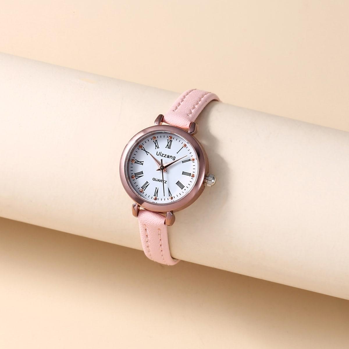 1pc Round Pointer Quartz Watch