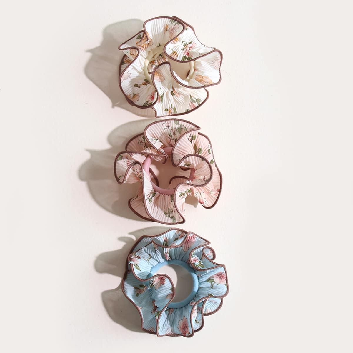 3шт резинка для волос с цветочным принтом для девочек