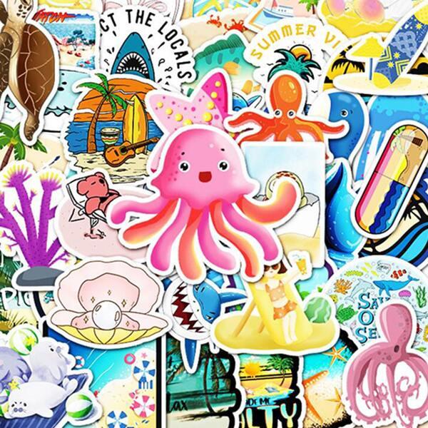 50pcs Marine Life Pattern Sticker, Multicolor