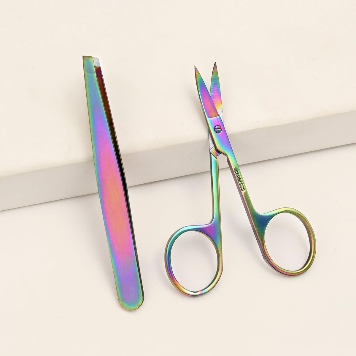 1шт пинцет для бровей 1шт ножницы из нержавеющей стали