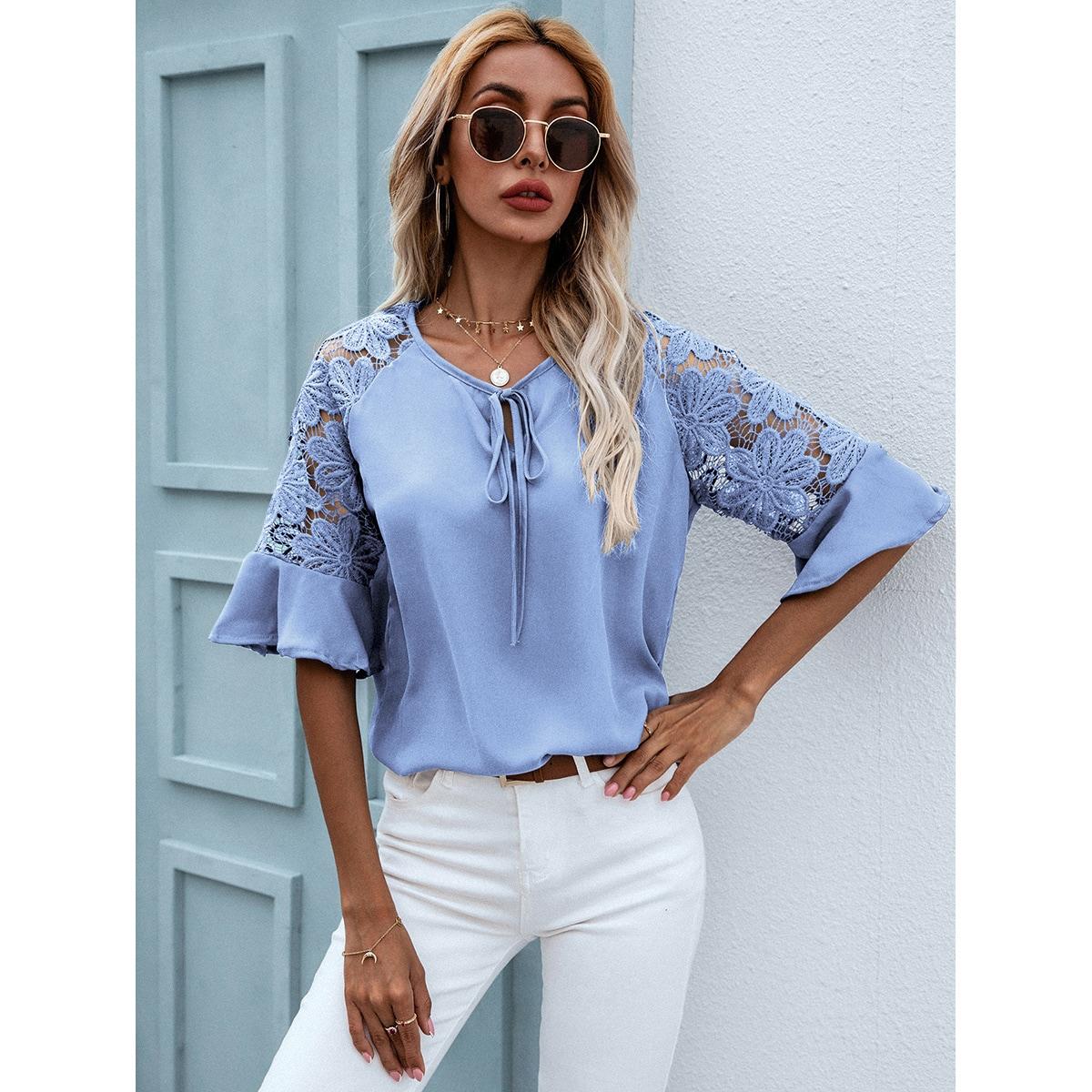 Блуза из гипюра с кружевом SheIn swblouse23210415824