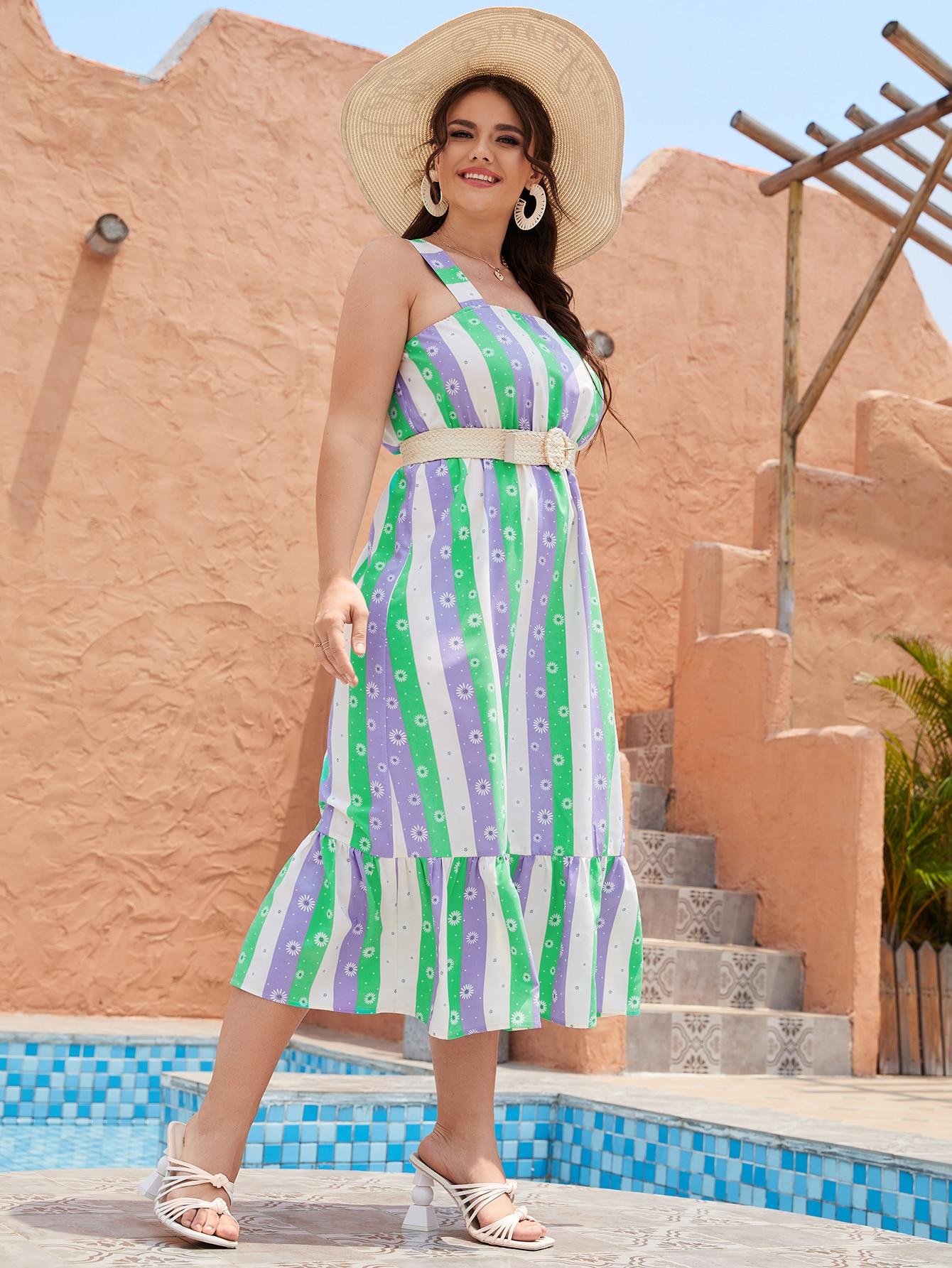 plus striped floral print dress without belt