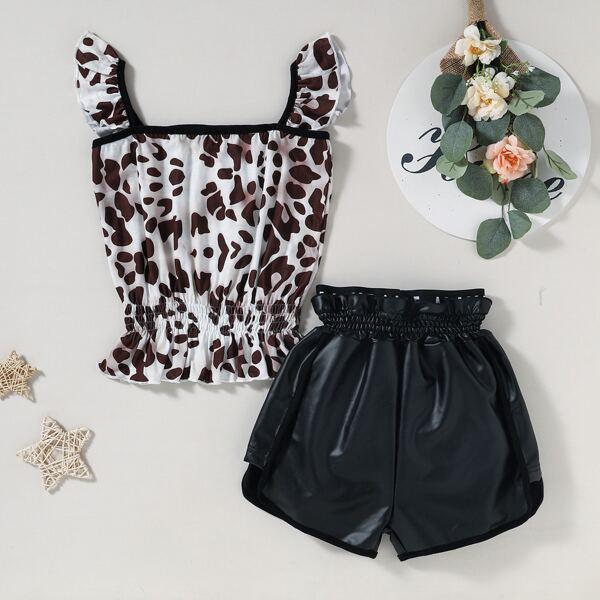 Girls Shirred Ruffle Hem Top & PU Paperbag Shorts, Multicolor