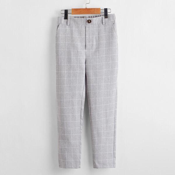 Boys Slant Pocket Grid Print Pants, Light grey