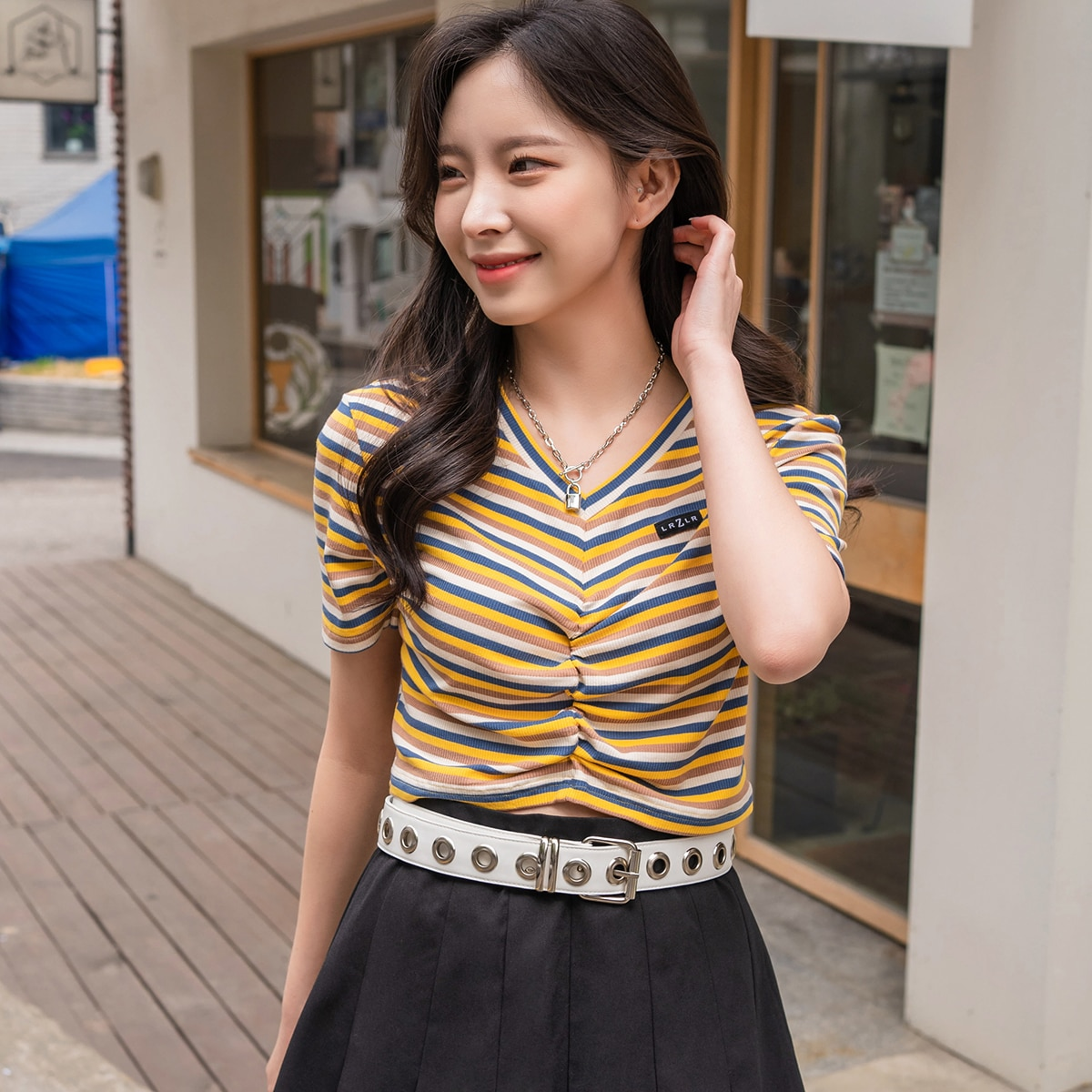 Striped Ruched Front Crop Tee