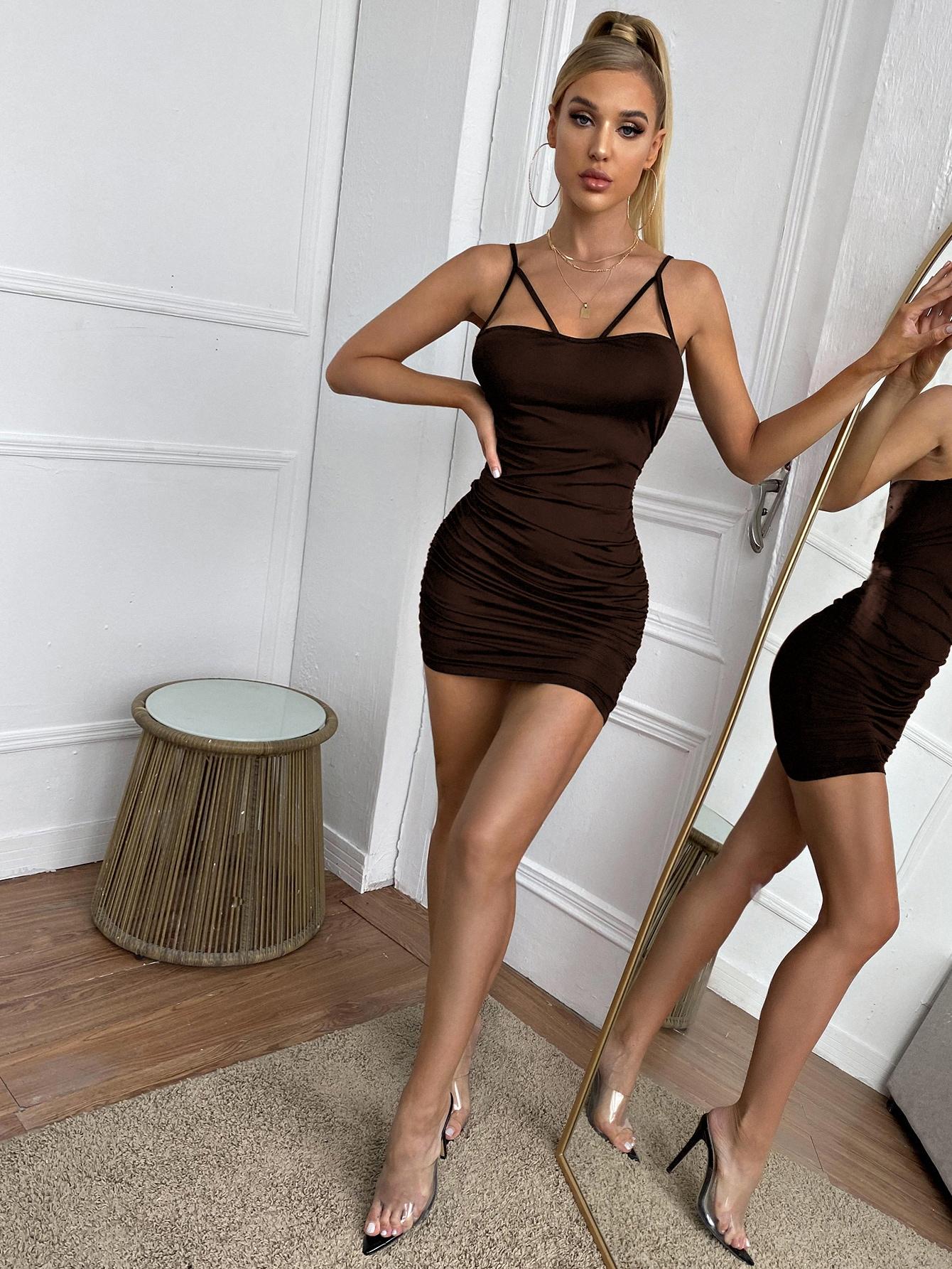 ruched spaghetti strap bodycon dress