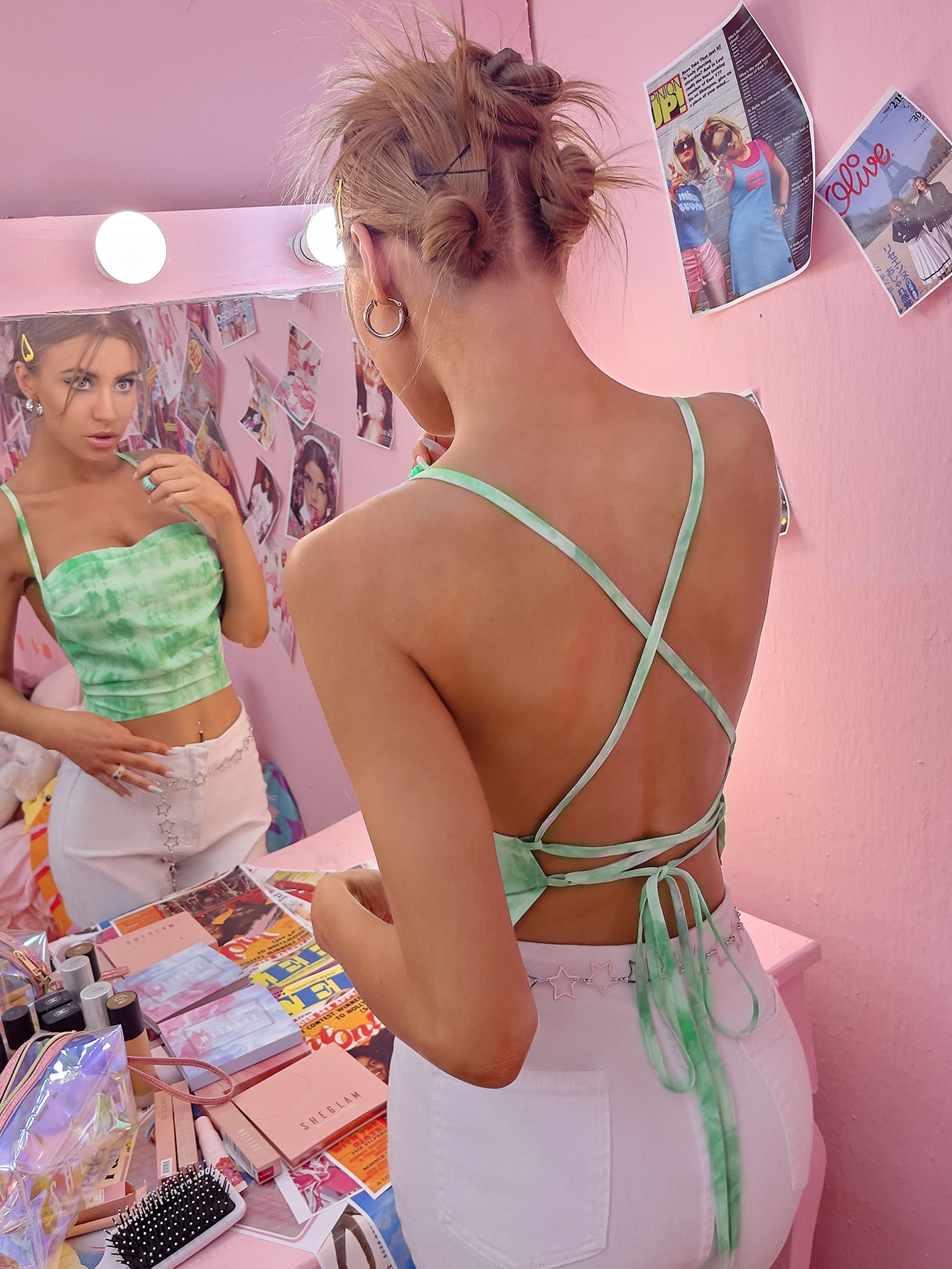 tie dye lace up side cami top