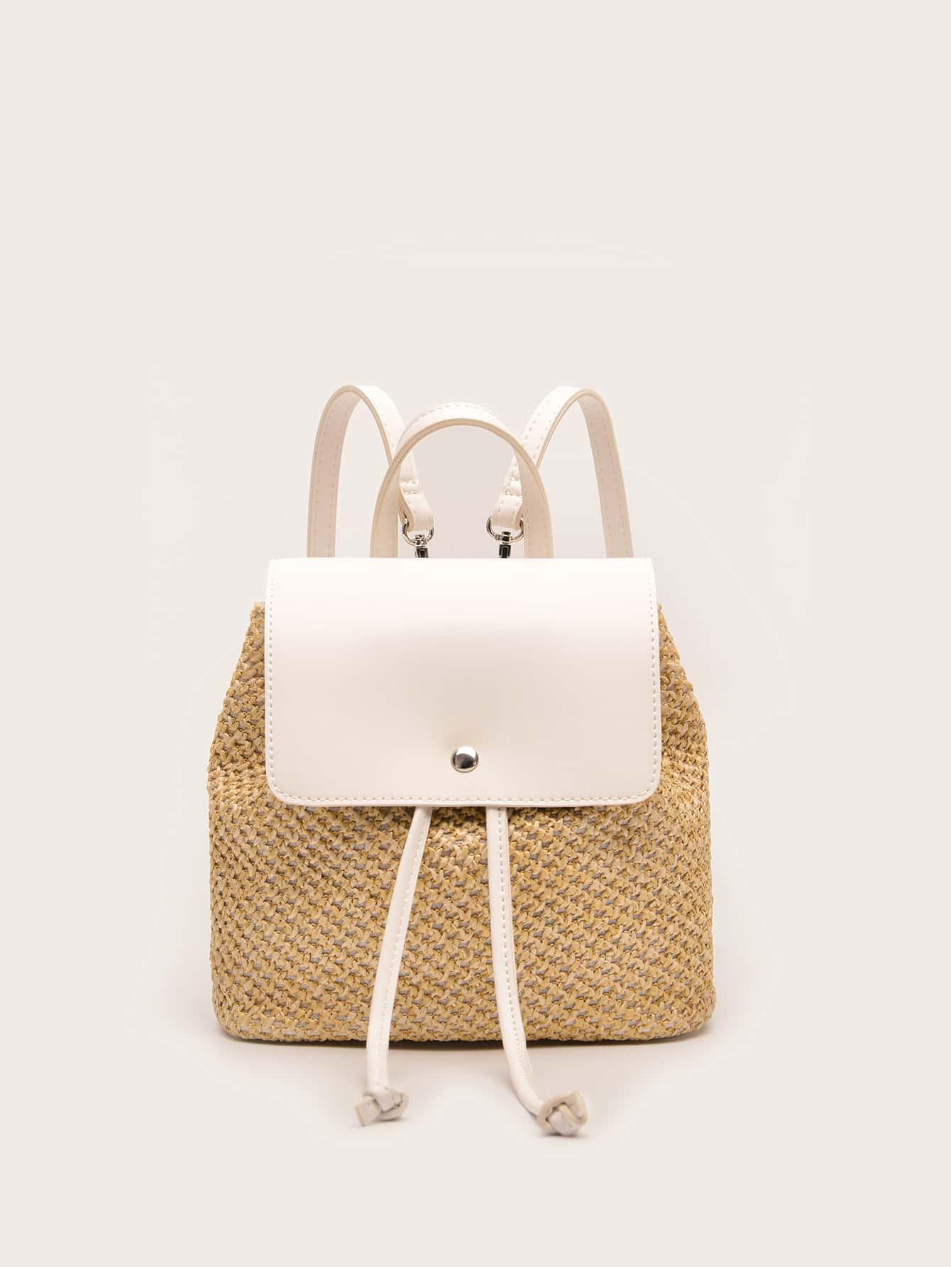 drawstring decor flap straw bag