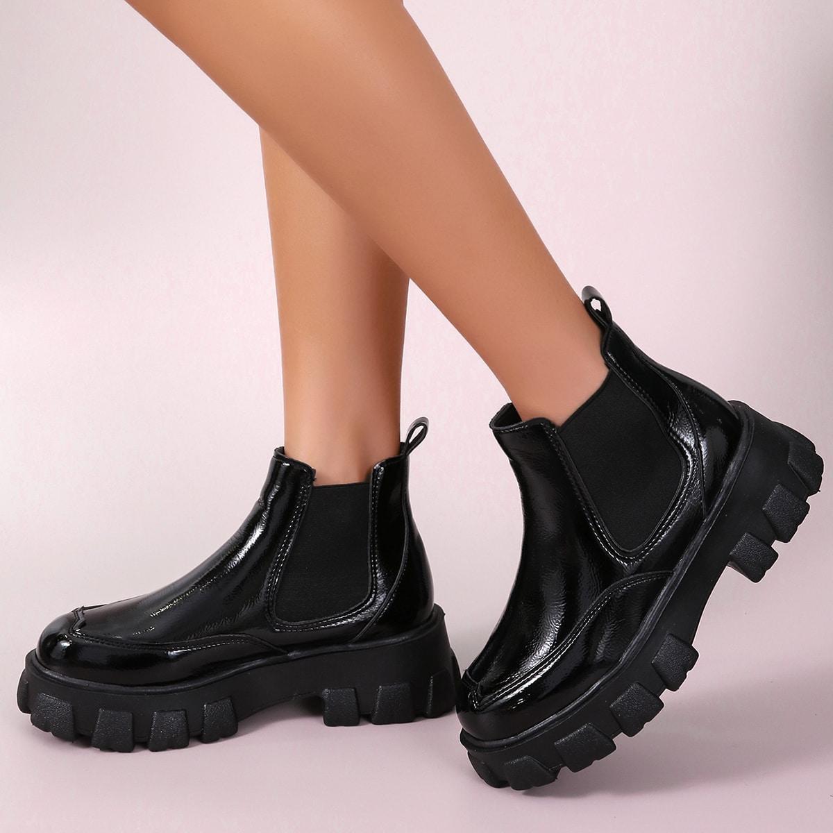 Обуви без шнурков Одноцветный Круто Сапоги