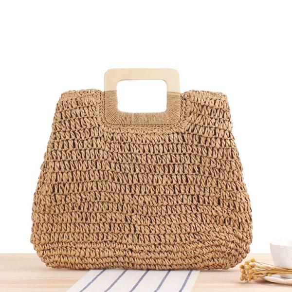 Minimalist Large Capacity Straw Bag, Brown