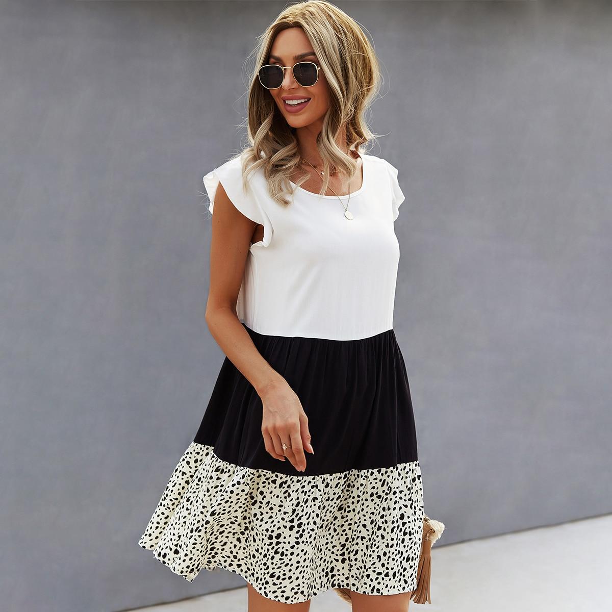 Платье комбинированным принтом SheIn swdress23210402658