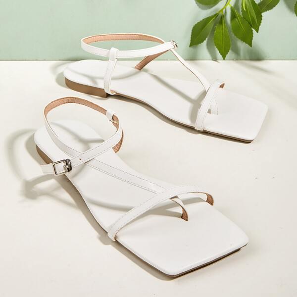 Thin Strap Flat Thong Sandals, White