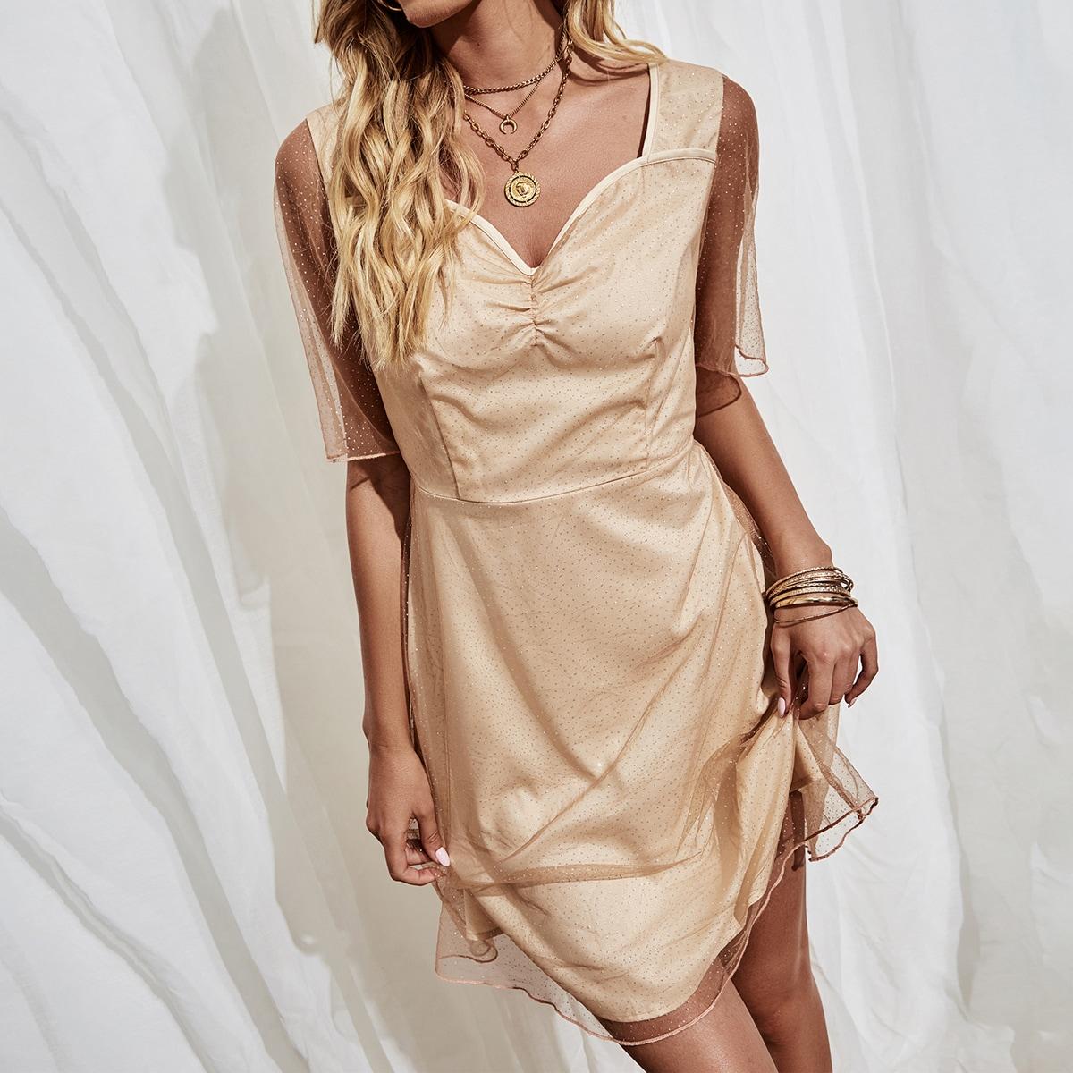 Сетчатое платье с глубоким декольте SheIn swdress23210225496