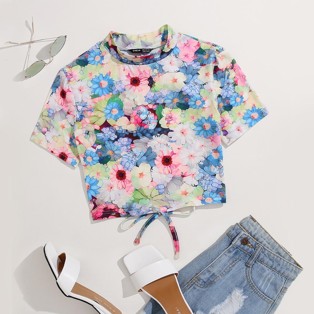 T-shirt court dos-nu fleuri