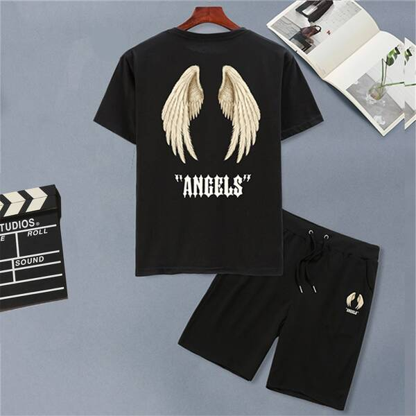 Men Wings And Letter Print Tee & Shorts, Black