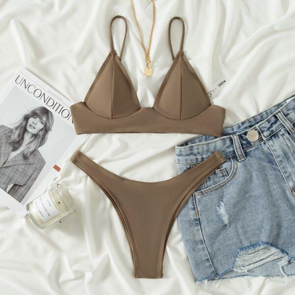 Triangle High Cut Bikini Swimsuit, Khaki