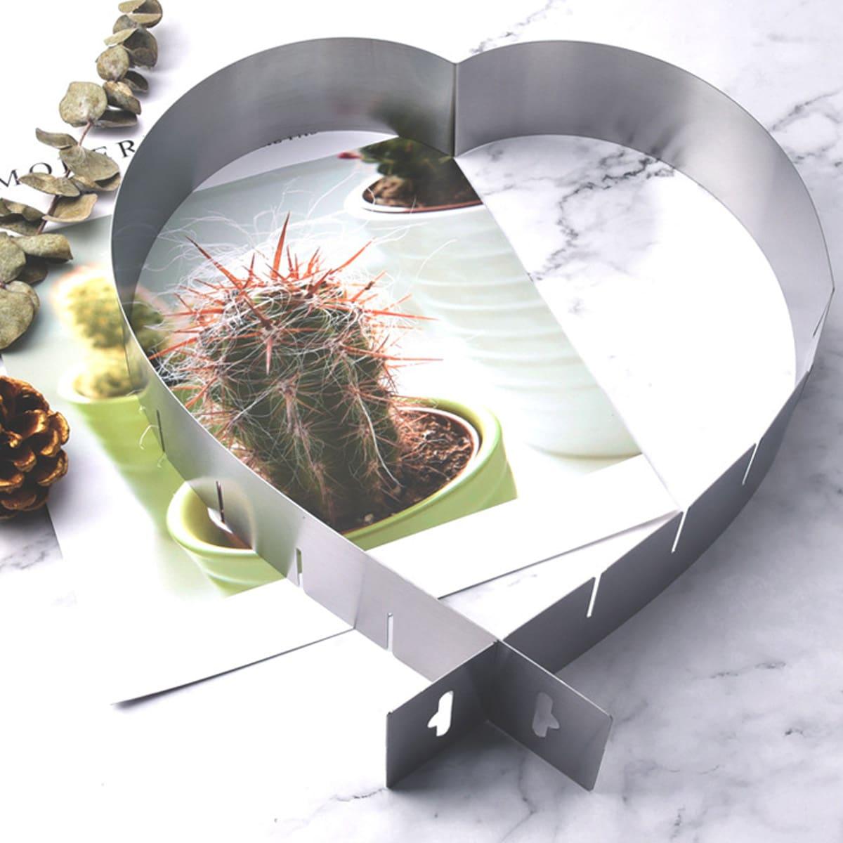 1pc Adjustable Heart Shaped Mousse Cake Ring