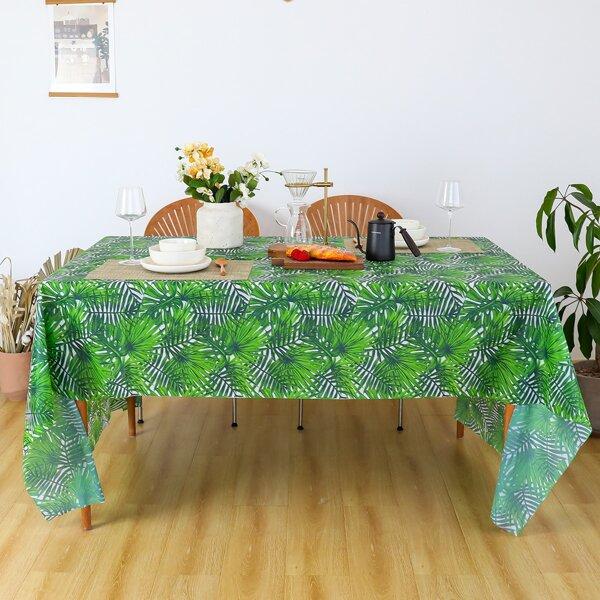 Leaf Overlay Print Tablecloth, Green