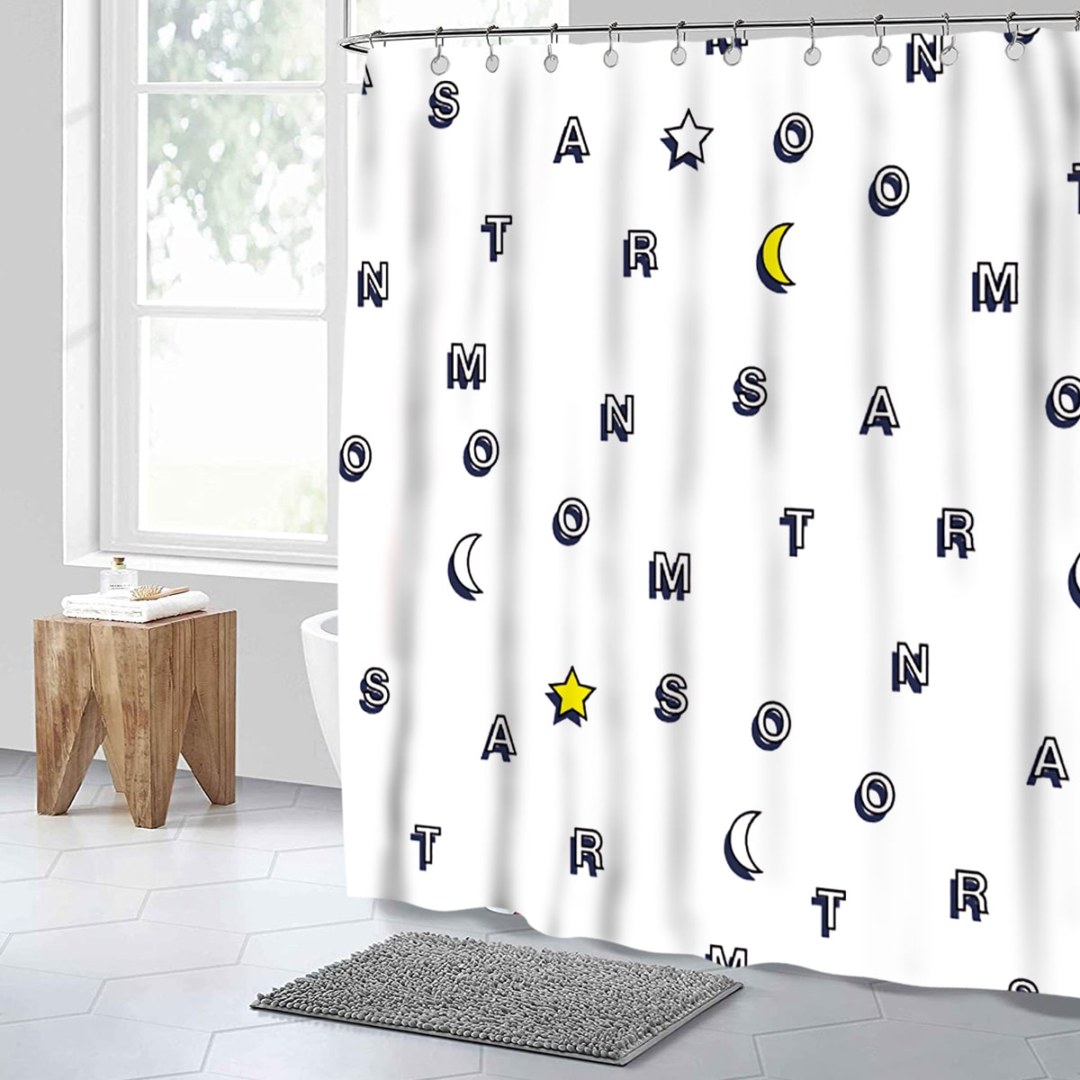 Letter Graphic Water Proof Shower Curtain