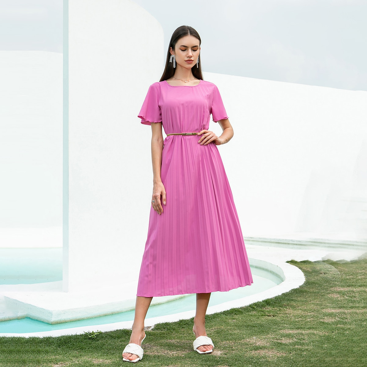 Solid Butterfly Sleeve Belted Pleated Dress, SHEIN  - buy with discount
