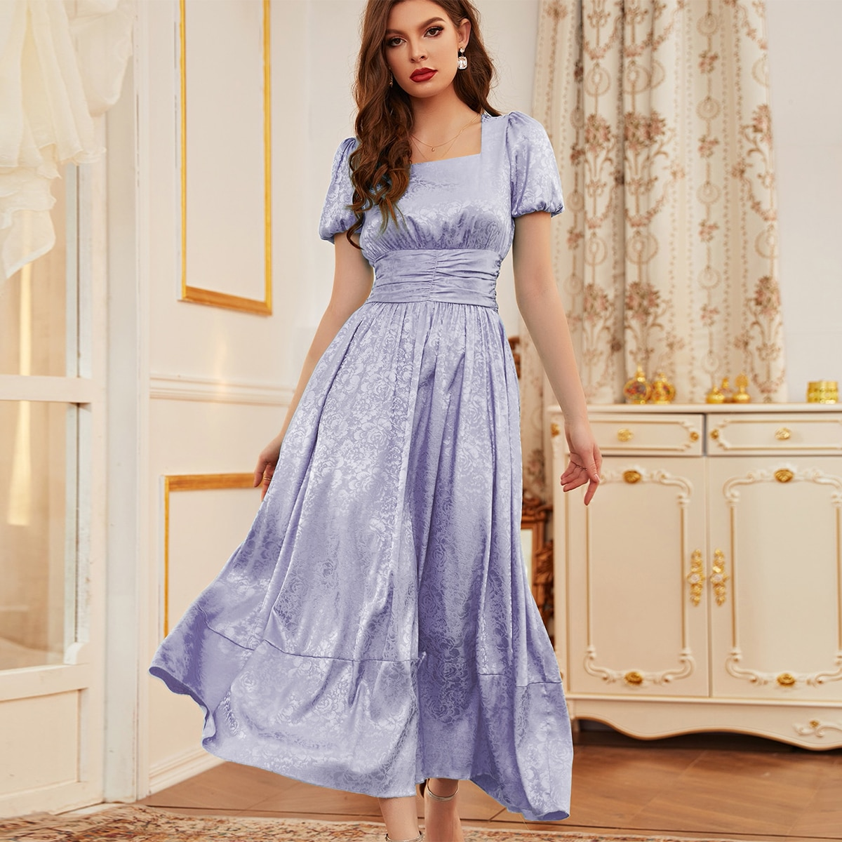 Square Neck Ruffle Hem A-line Dress
