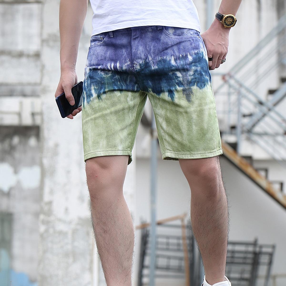 Men Colorblock Denim Shorts
